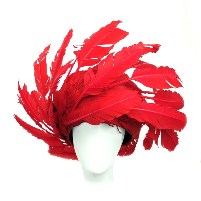 GEORGE ZAMAUL Couture Red Feather Hat At 1stdibs