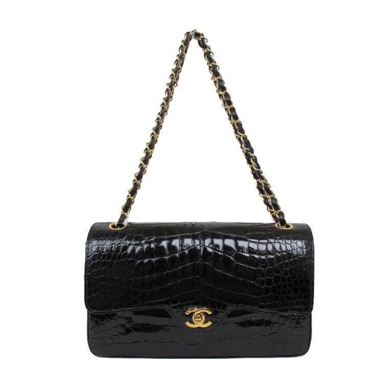 Chanel Black Crocodile Classic Double Flap Bag at 1stdibs