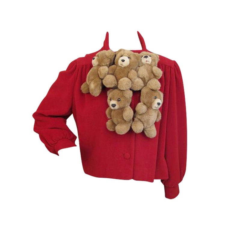 Moschino Couture Runway Teddy Bear Red Jacket At 1stdibs
