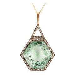 Antique Russian Green Aqua Beryl Diamond Necklace 1867 AGTA