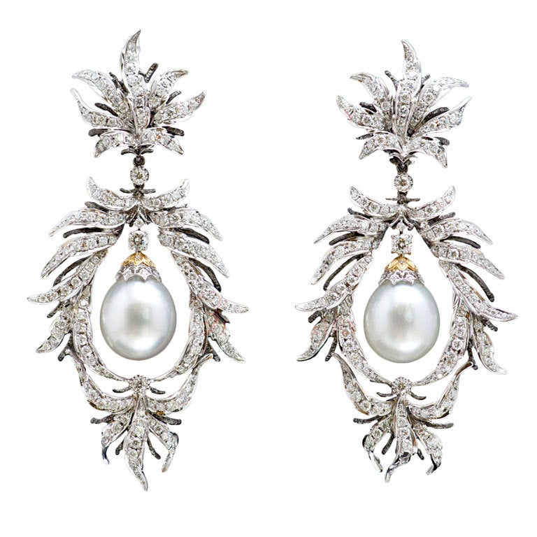Magnificent Pearl Diamond White Gold Chandelier Earrings