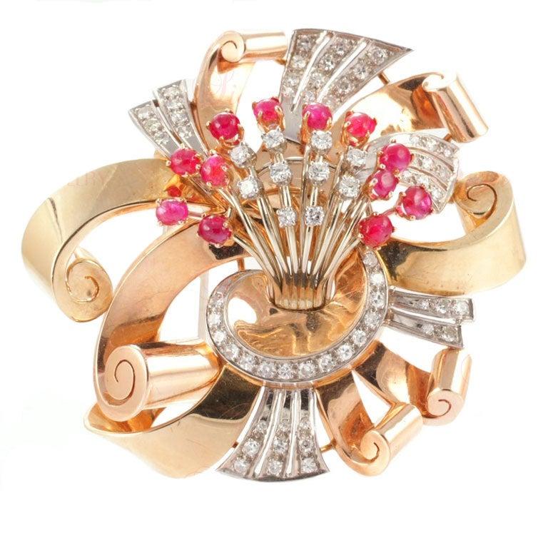 Retro Ruby Diamond Rose Gold Brooch
