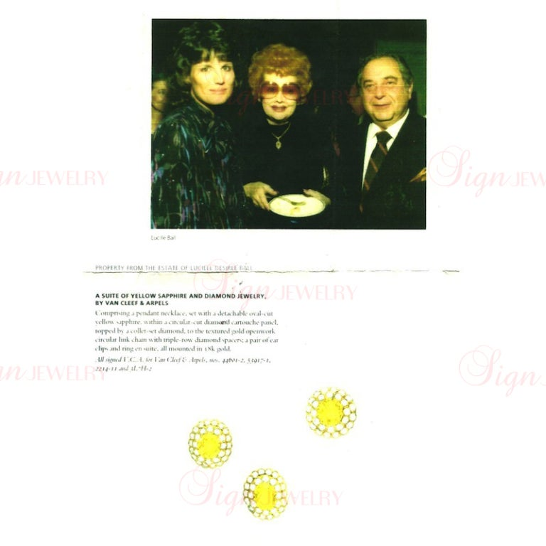 Van Cleef & Arpels Lucille Ball Estate Yellow Gold Jewelry Set In Excellent Condition For Sale In New York, NY