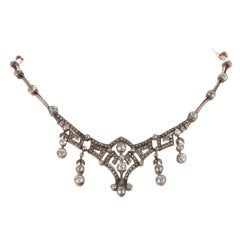 Antique Victorian  Diamond Yellow Gold Evening Necklace