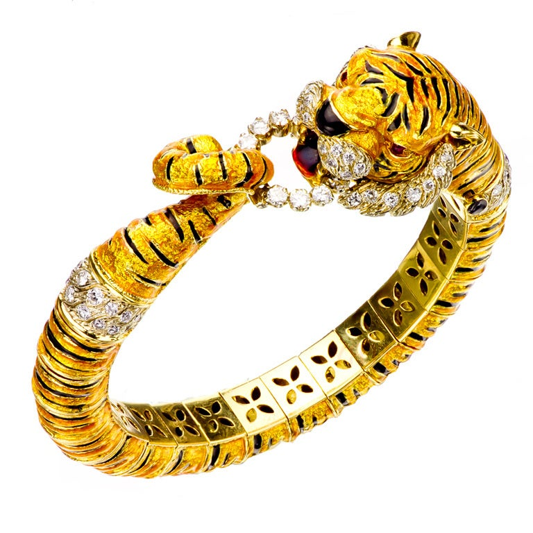 Bengal Tiger Enamel Diamond Yellow Gold Hinged Bracelet At