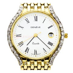 Geneva Yellow Gold Diamond Dress Quartz Wristwatch