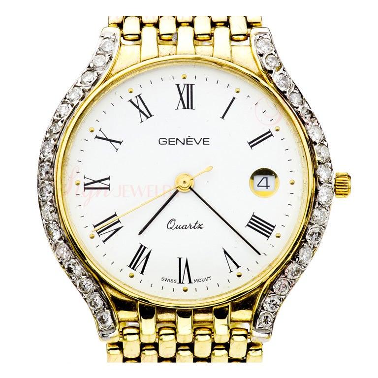 GENEVA Swiss Unisex Diamond Yellow Gold Dress Watch