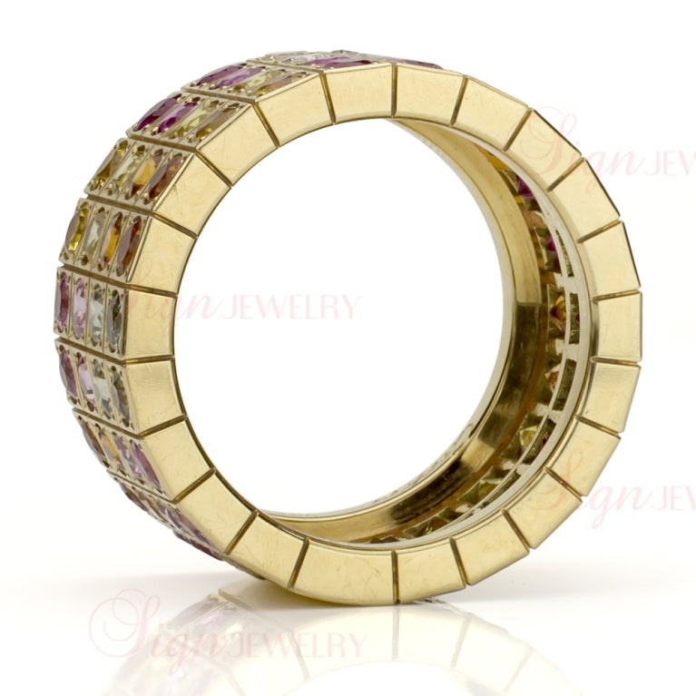 Cartier Multicolor Sapphire Diamond  Yellow Gold Four Row Ring. Sz 52 3