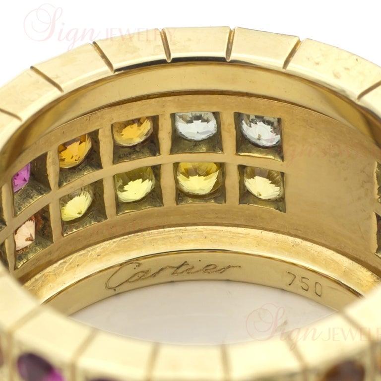 Cartier Multicolor Sapphire Diamond  Yellow Gold Four Row Ring. Sz 52 4
