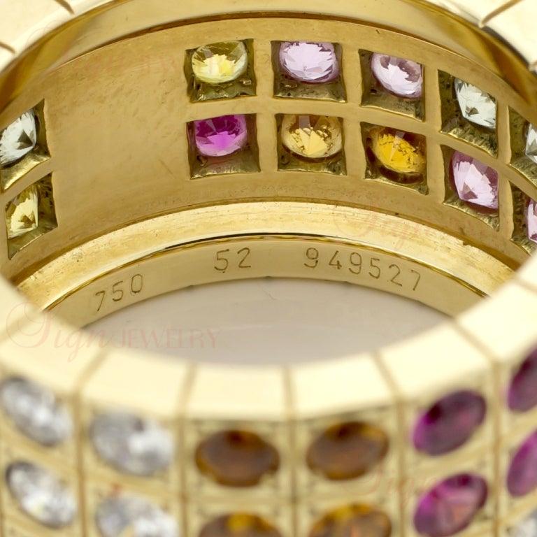 Cartier Multicolor Sapphire Diamond  Yellow Gold Four Row Ring. Sz 52 5