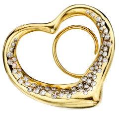 TIFFANY & CO. Elsa Peretti Diamond Open Heart Brooch Pendant