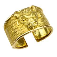 DAVID WEBB Taurus Collection Yellow Gold Cuff Bracelet