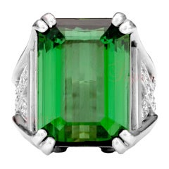 Kieselstein-Cord Green Tourmaline Diamond Platinum Ring