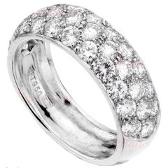 HARRY WINSTON 3-Row Pave Diamond Platinum Wedding Band