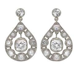 French Art Deco Diamond Drop Earrings