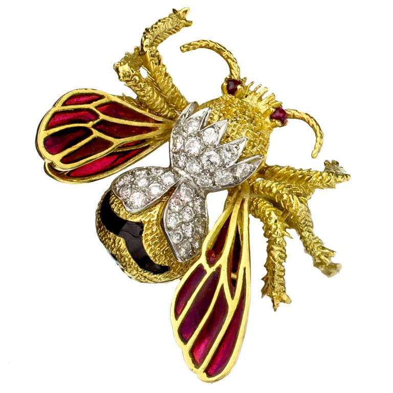 TIFFANY & CO. Hand-Crafted Diamond Ruby Enamel Gold Bee Brooch 1
