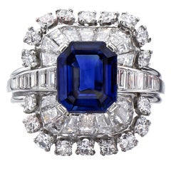 TIFFANY & CO.  Authentic Natural Sapphire Diamond Platinum Ring