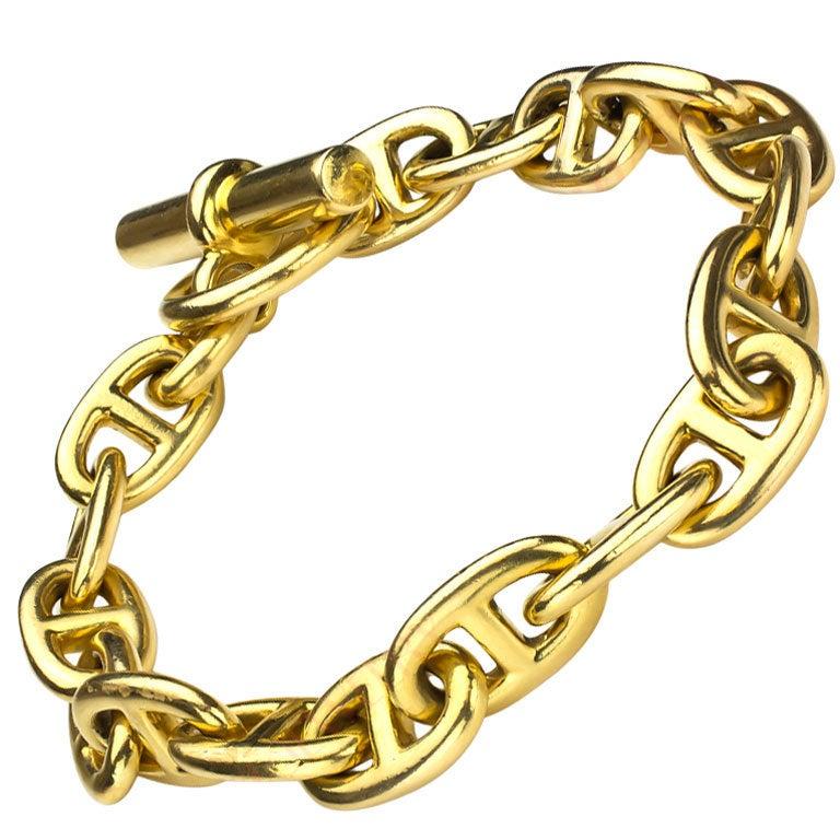 Hermes Paris Chaine D Ancre Gold Anchor Toggle Bracelet M