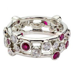 TIFFANY & CO. Ruby Diamond Platinum Bubbles Band Ring