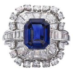 TIFFANY & CO. Natural Non-Heated Sapphire Diamond Platinum Ring