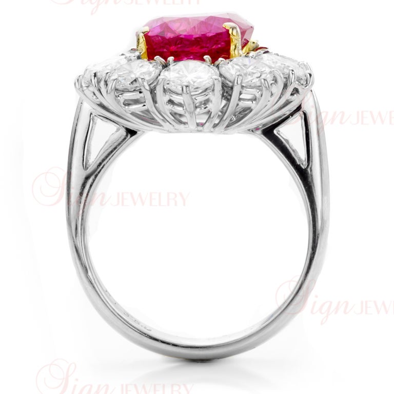 Natural Non-Heated Burmese Ruby Diamond Cluster Platinum Ring 2