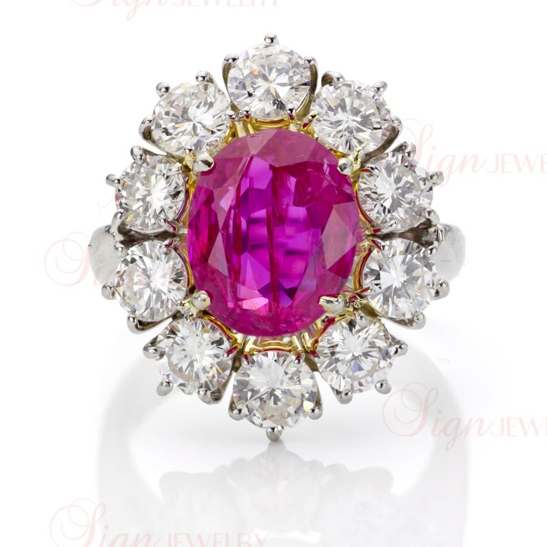 Natural Non-Heated Burmese Ruby Diamond Cluster Platinum Ring 3