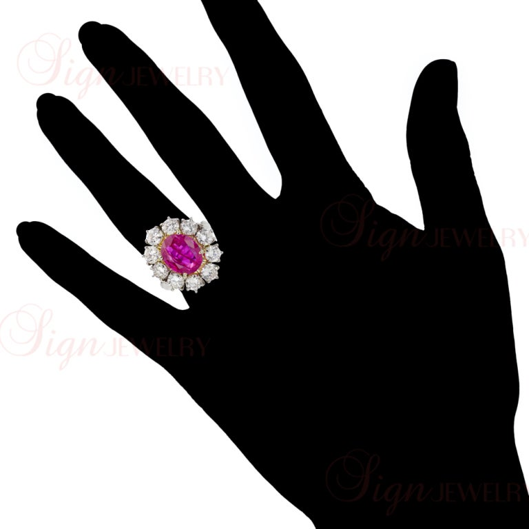 Natural Non-Heated Burmese Ruby Diamond Cluster Platinum Ring 4