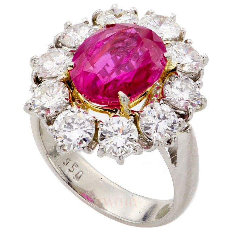 Natural Non-Heated Burmese Ruby Diamond Cluster Platinum Ring 1