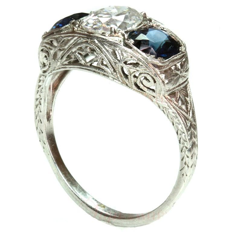 1920 s filigree blue sapphire platinum ring at 1stdibs