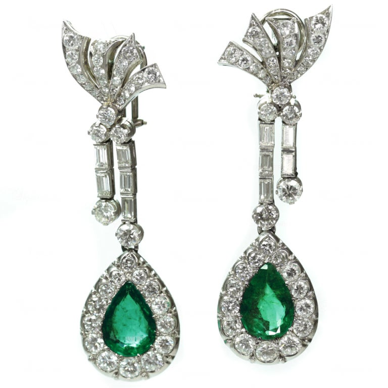 Retro Hand-Made Pear Emerald Diamond Drop Earrings 1