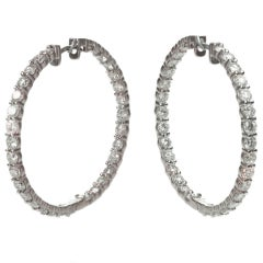Custom-Made 8.83 Carat Diamond Large Gold Hoop Earrings