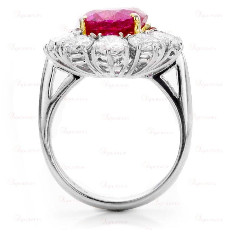 Estate Hand-Made Natural Non-Heated Burmese Ruby Diamond Platinum Ring 2