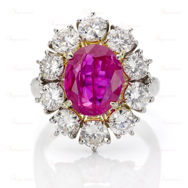 Estate Hand-Made Natural Non-Heated Burmese Ruby Diamond Platinum Ring 3