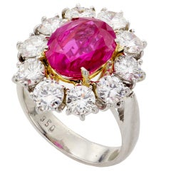 Estate Handmade Natural Non-Heated Burmese Ruby Diamond Platinum Ring