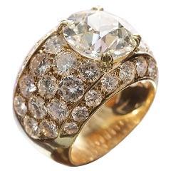 Boucheron 1980s Yellow Gold & Diamond Dome Ring
