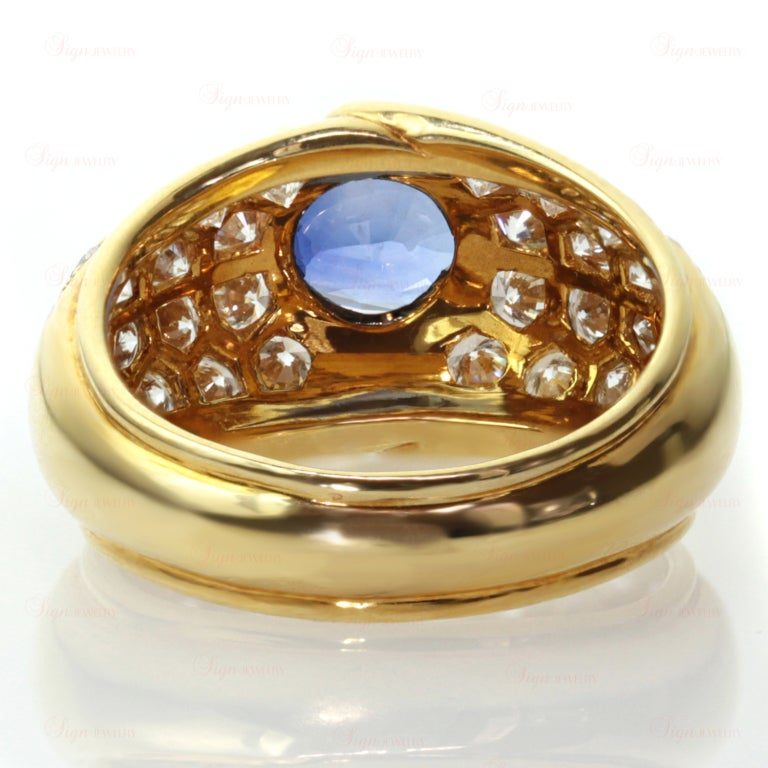 VAN CLEEF & ARPELS Blue Sapphire Diamond Yellow Gold Ring For Sale 1