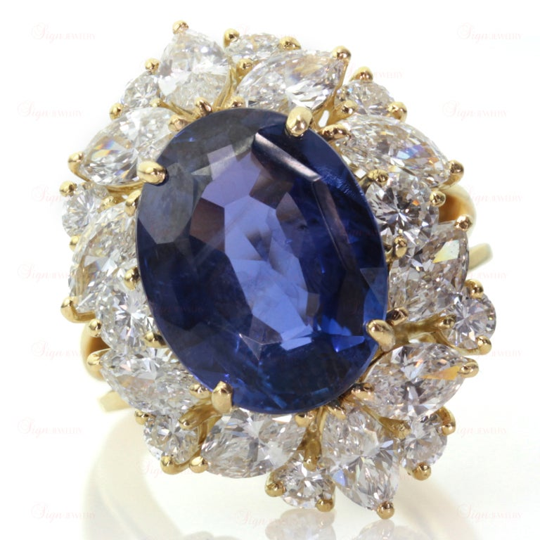 Non-Heated Natural Blue Sapphire Diamond 18 Gold Ring. GIA 2