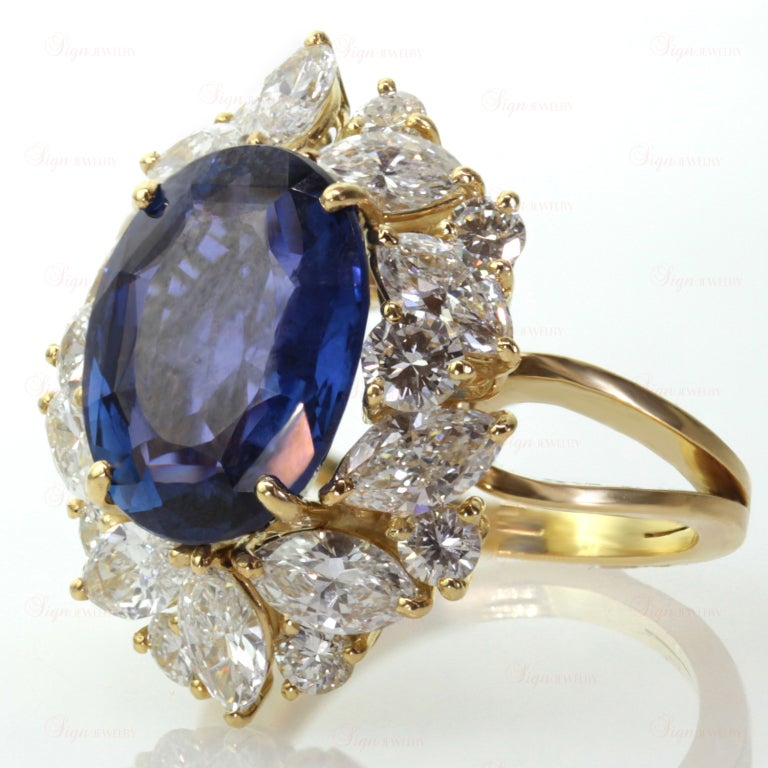 Non-Heated Natural Blue Sapphire Diamond 18 Gold Ring. GIA 3