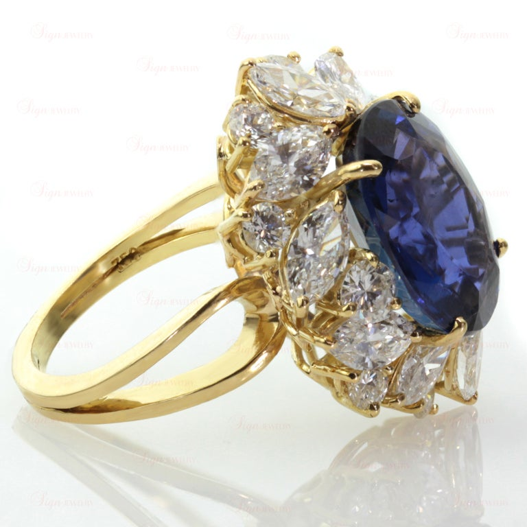 Non-Heated Natural Blue Sapphire Diamond 18 Gold Ring. GIA 4