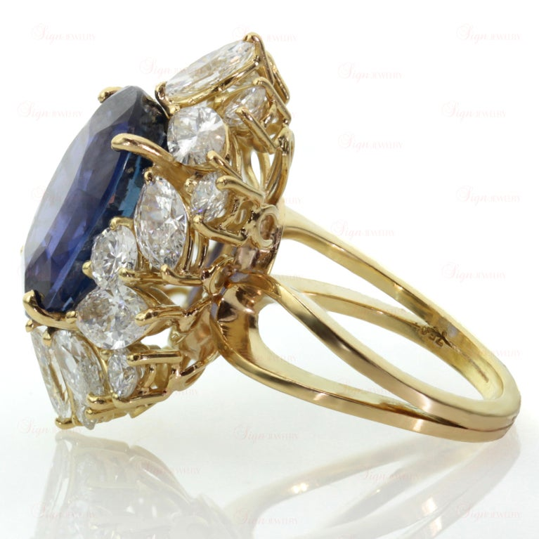Non-Heated Natural Blue Sapphire Diamond 18 Gold Ring. GIA 5