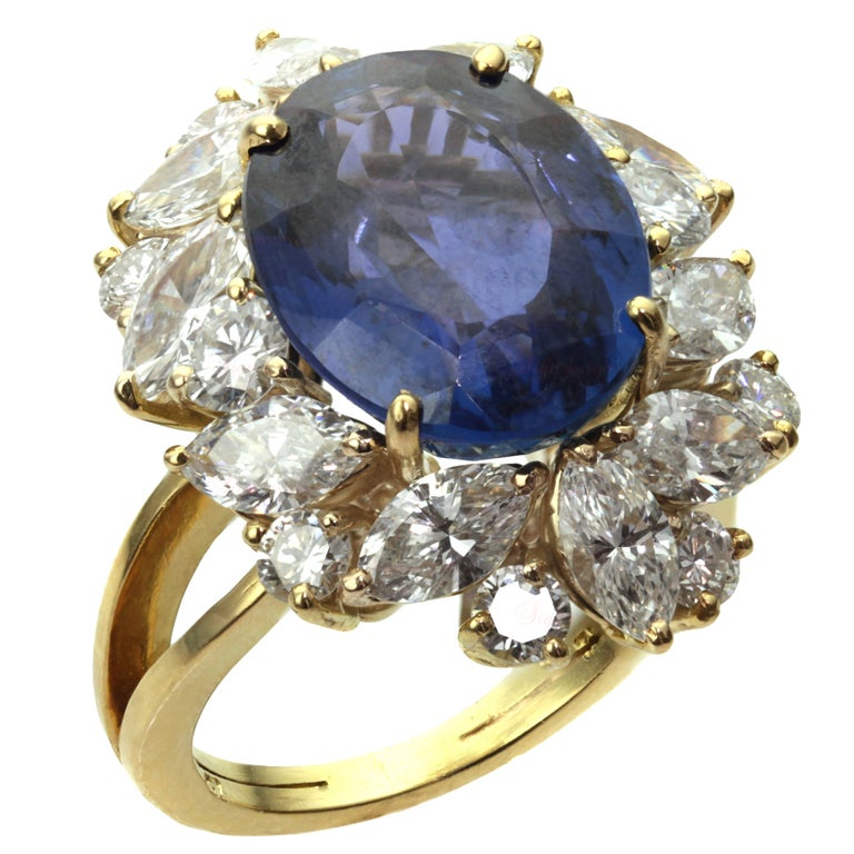 Non-Heated Natural Blue Sapphire Diamond 18 Gold Ring. GIA 1
