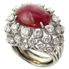 David Webb Ruby Diamond Platinum Dome Ring