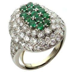 Green Emerald Diamond Dome Crown Platinum Ring