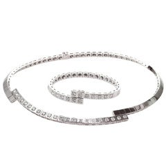 CARTIER Paris Nouvelle Diamond Vague Necklace & Bracelet Set