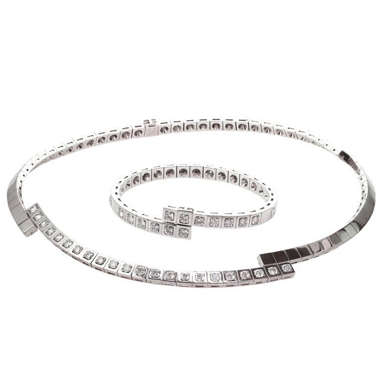 CARTIER Paris Nouvelle Diamond Vague Necklace and Bracelet Set For