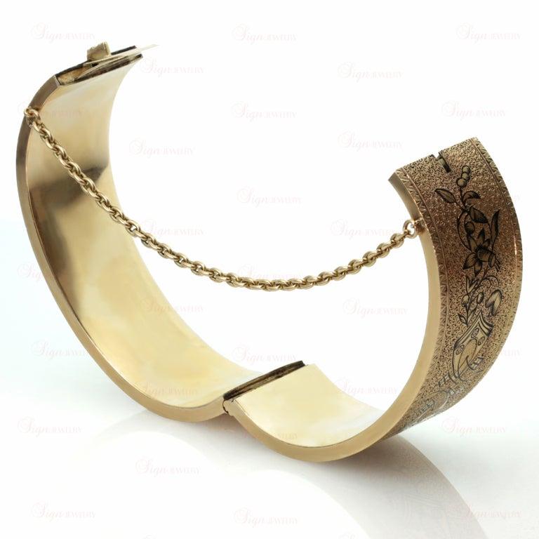 Women's Antique Victorian Black Enamel Yellow Gold Bangle Cuff Bracelet