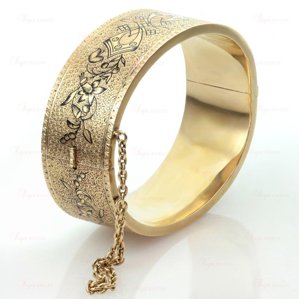 Antique Victorian Black Enamel Yellow Gold Bangle Cuff Bracelet 1