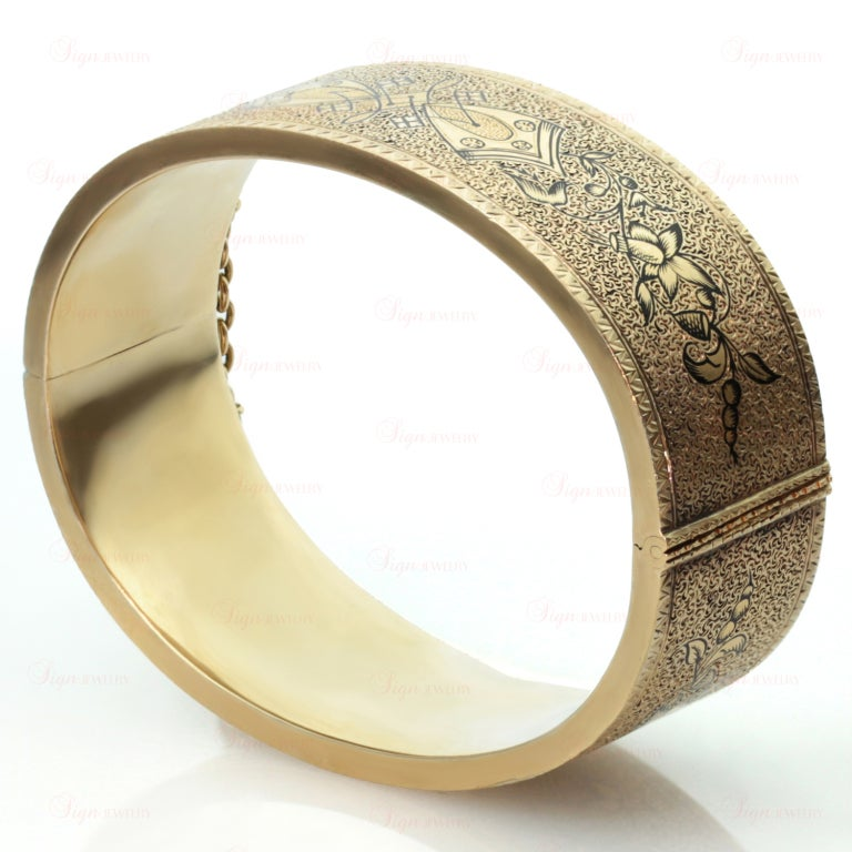 Antique Victorian Black Enamel Yellow Gold Bangle Cuff Bracelet 2