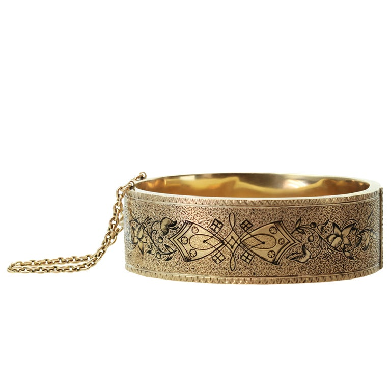 Antique Victorian Black Enamel Yellow Gold Bangle Cuff Bracelet