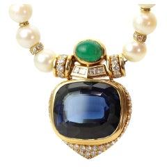 Blue Sapphire Green Emerald Diamond Pearl Gold Necklace